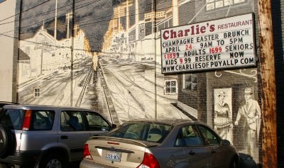 The mural on the brick wall at Charlie's Restaurant in Puyallup, Washington.
