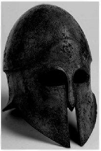 An ancient Greek helmet.