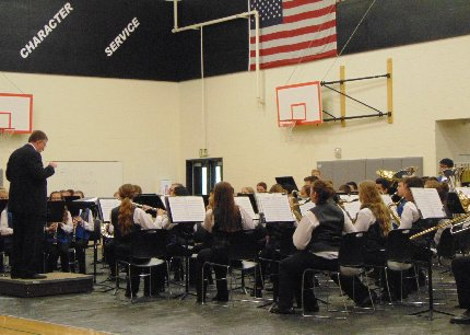 Mr Andy Burch leading the Edgemont Junior High School Band at the Valley Region Band Contest in Puyallup, Washington.