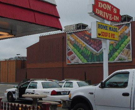 Police cars at Don's Drive-In in downtown Puyallup, Washington.
