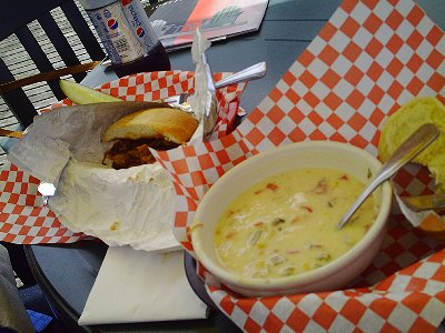 Pulled pork and prawn chowder in La Conner, Washington - Photo.