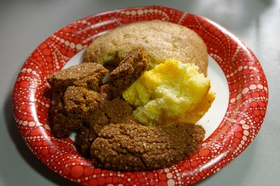 Cookies and Polenta Cake with lime from the Farm to Market Bakery in Edison, Washington - photo.