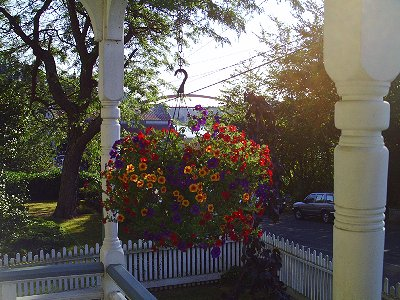 Flowers on the porch of The La Conner Quilt & Textile Museum in La Conner, Washington - photo.