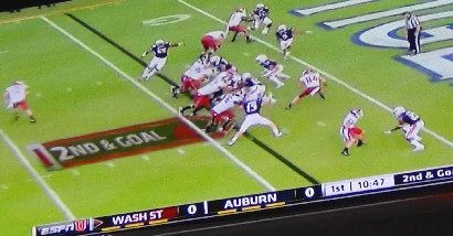 Washington State Cougars scoring a touchdown against the Auburn Tigers.