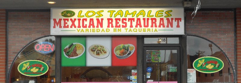 The sign and front window at Los Tamales Restaurant Tacoma - image.