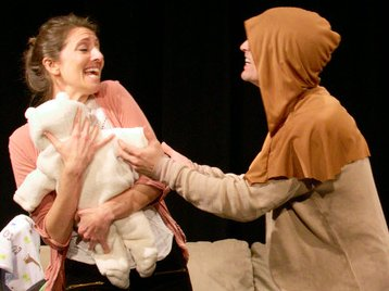 Jenn Ruzumna and Tom Stewart in Welcome to My Secret Lair at Theater Schmeater - image.
