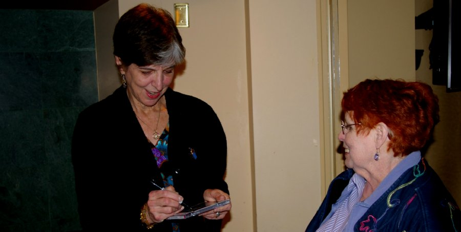 Marcia Ball autographing Peg's new Marcia Ball CD in Olympia, Washington - photo.