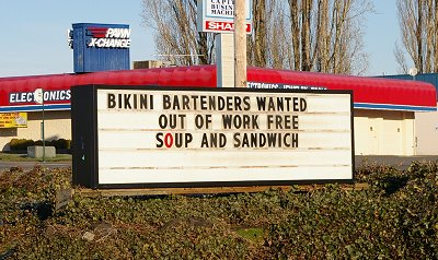 A roadside sign in Lacey, Washington - Photo.