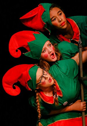 Elf Z played by Makayla Broxton, Elf Q played by Mary Norton, and Elf J played by Jayda Slack at Tacoma Little Theatre - Photo courtesy Dennis K Photography - image.