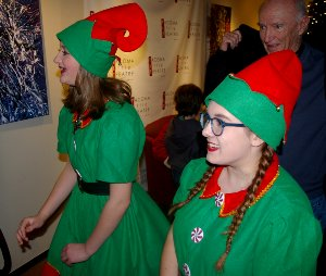 Elf Q played by Mary Norton, and Elf J played by Jayda Slack) at Tacoma Little Theatre - Photo courtesy Public Doman - image.