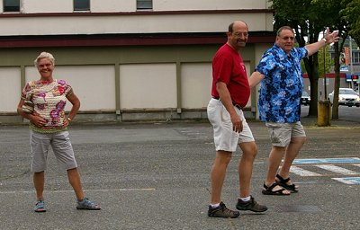 Darlene poses while Donn Irwin and Rob Erb do the Strut and Shuffle.