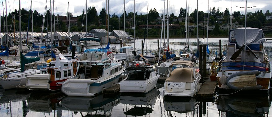 Boats in the marina of East Bay in Olympia, Washington.
