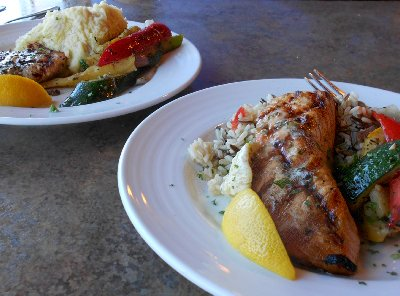 Salmon dinners from Budd Bay Café in Olympia, Washington.