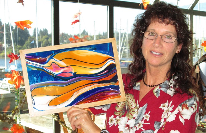 Marina Kuran and her art at the Splash Gallery in Olympia, Washington - Photo Image.