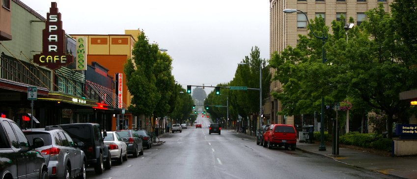 Leaving downtown Olympia, Washington.