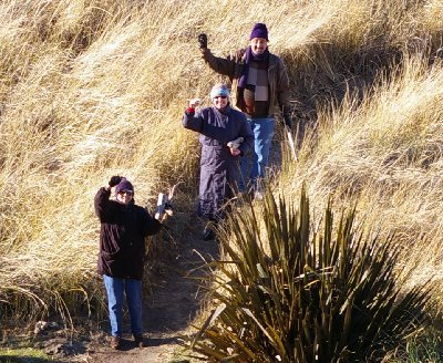 Donn, Debbie and Jan return from an invigorating walk along the beach at Ocean Shores.