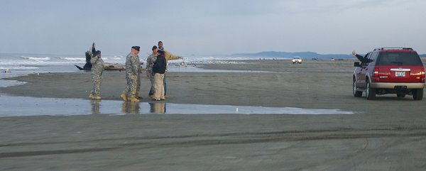 Members of the Ranger Battalion from Ft. Lewis on the beach at Ocean Shores.
