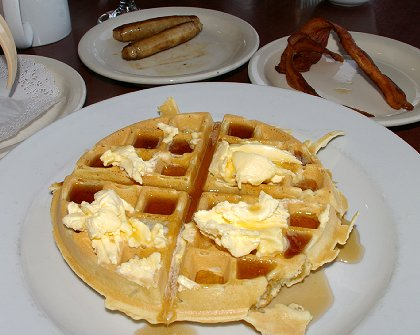 A breakfast waffle at the Shilo Inn restaurant in Ocean Shores, Washington - image.
