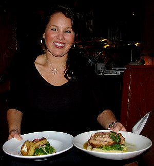 Emily, our waitress at Seattle's Palace Kitchen provided information about the menu items.