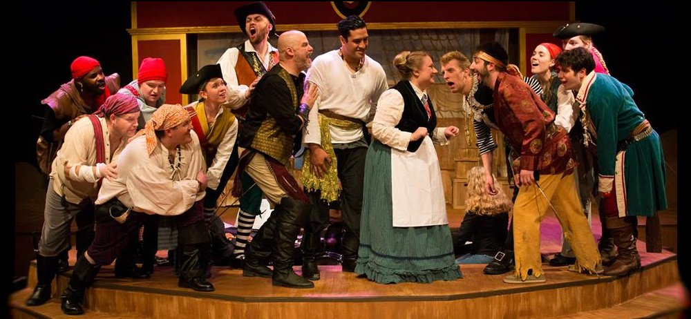 The pirate crew in The Pirates of Penzance at Lakewood Playhouse - PHOTO by TIM JOHNSTON - image.