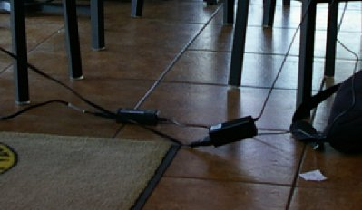 Laptop power cords at the Forza in downtown Puyallup, Washington.