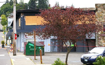 The burned and gutten local restaurant in Port Orchard, Washington.