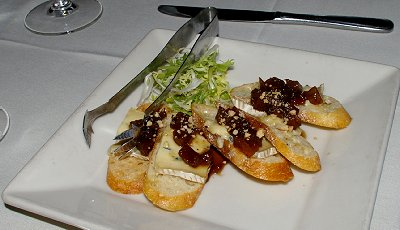 Poached Pear & Cambozola Bruschetta from Brix in Gig Harbor, Washington.