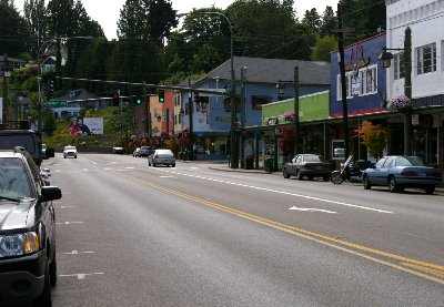 The quiet Sunday streets of Port Orchard, Washington.