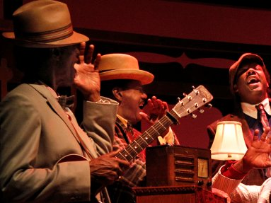 The band in Pullman Porter Blues at Seattle Repertory Theatre. Photo by Chris Bennion..