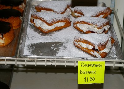 the raspberry bismarks from the Pioneer Bakery in Puyallup, Washington.