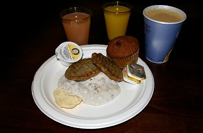 My breakfast from the Holiday Inn Express on South Hill in Puyallup Washington.