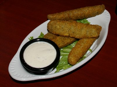 Deep fried pickles from the Midtown Station restaurant in Sumner, Washington..