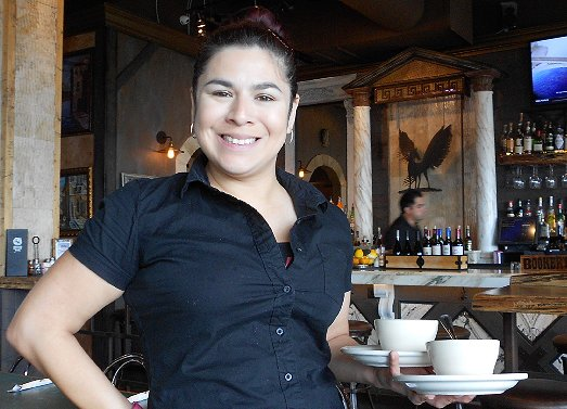 Our waitress at Pegasus at Alki Restaurant West Seattle - image.