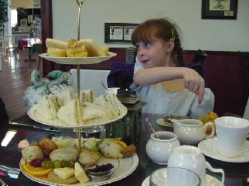 Dakota asks about an item on the Sweet/Savory Plate. You can see the tea cozy to her right.