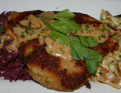 Jaeger Schnitzel at Belltown Pub in downtown Seattle - image.