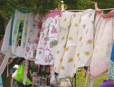 Art aprons from Rhubarb Days in Sumner, Washington.