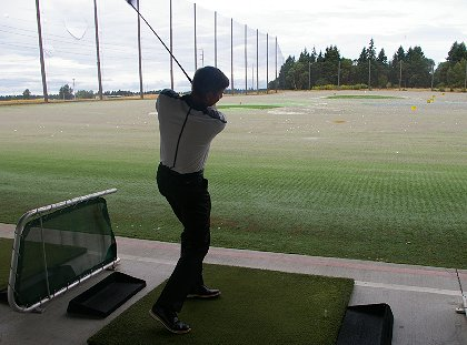 Mike Givens on the driving range at Tacoma Firs Golf Center - image.