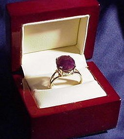 Peg's 4.2 ct ruby ring.