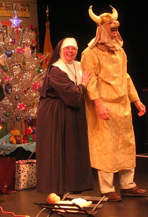 Aubrey Manning as Sister and an audience member as The Ox, in Sister's Christmas Catechism by Maripat Donovan at ACT - A Contemporary Theatre. Photo: Ben Rapson.