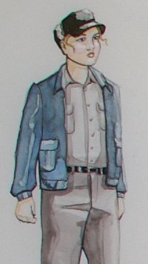 A costume designer's sketch for Fidelio at Seattle Opera.