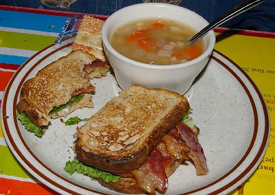 BLT and soup from Berryland Cafe in Sumner, Washington.