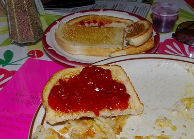 Toast smeared with rhubarb jam in Sumner, Washington.