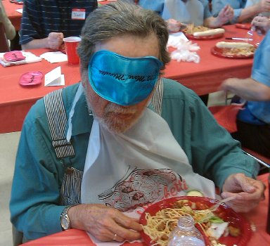 Blindfolded spaghetti eating at TACID in Tacoma.