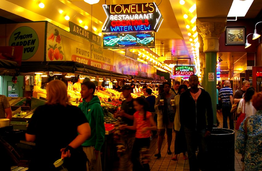 Lowell's restaurant sign at Pike Place Market - image.
