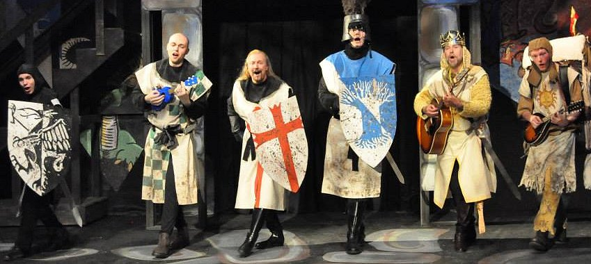 (L to R) XANDER LAYDEN (Lancelot), TIM McFARLAN (Robin), GARY CHAMBERS (Galahad), STEVE TARRY (Arthur) and COLEMAN HAGERMAN (Patsy) - Photo by KATE PATERNO-LICK.