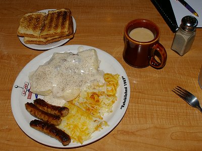 Biscuits and gravy from the Lil Jon Restaurant in Bellevue.
