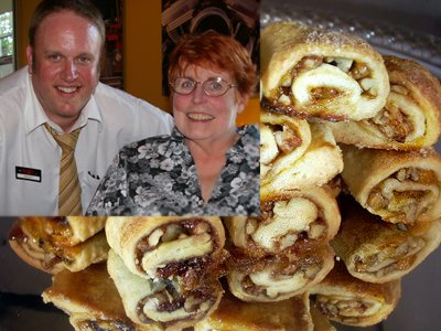 Rugelachs with insert of Peg and our waiter Scott.