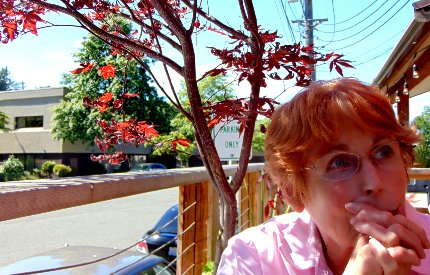 Peggy Doman relaxing at The Hub in Tacoma, Washington.