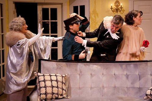 Rosalie Hilburn, Zack Wheeler, Bob De Dea, and Kate Alden in the CenterStage production of Lend Me a Tenor.