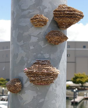 Artistic mushrooms or wasps nests at the Urban Art Festival 2011.